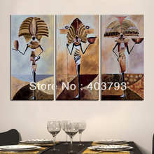 100% Hand painted  Wall art  home Decor Oil Painting on canvas 3pcs Egypt  folk style Free shipping цена
