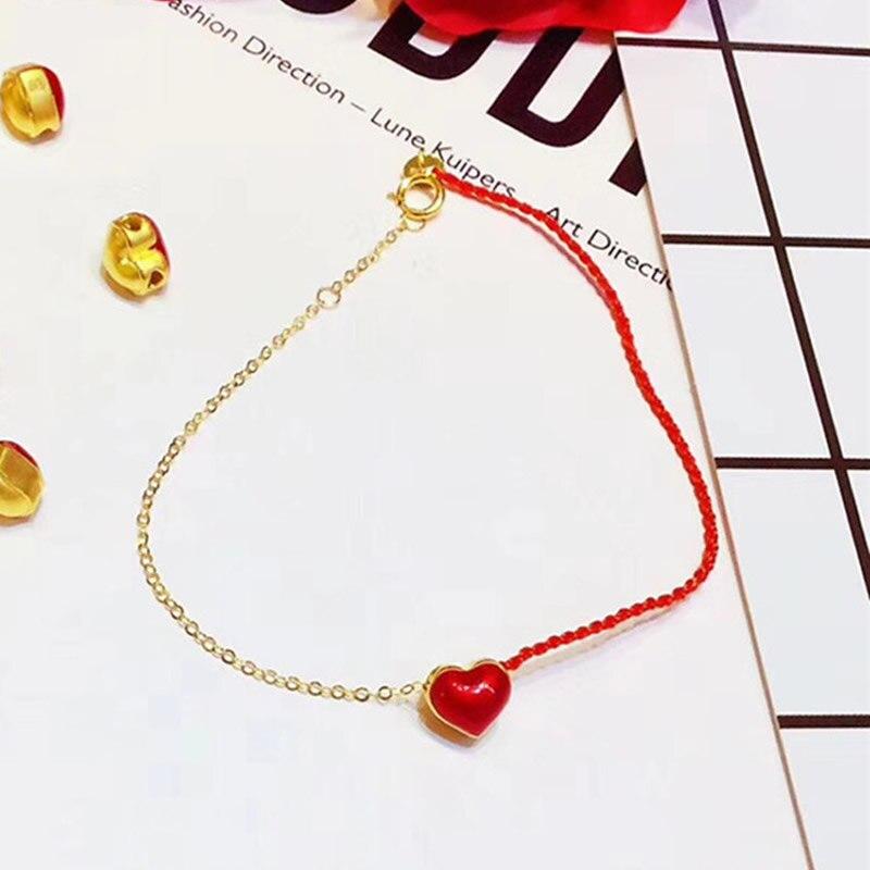 Bracelet pur or jaune 24 K Bracelet coeur 3D or 999