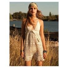 100% Handmade โครเชต์ Halter สปาเก็ตตี้สายรัดคอ V - Neck Backless Dress