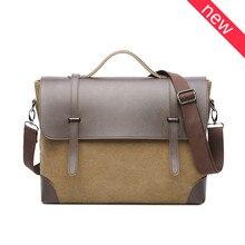 Retro Canvas Men Briefcase Business Bag Portfolio Multi-Pocket Messenger Bag Male Laptop Bag Fashion Shoulder Bags Travel Bag
