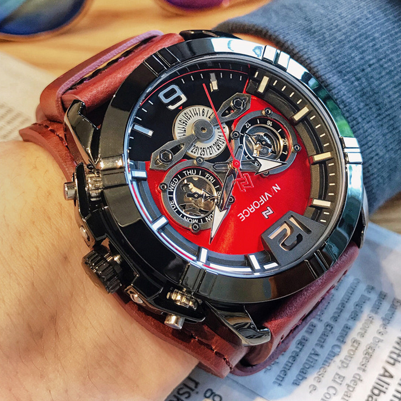 NAVIFORCE Mens Watch Fashion Sport Leather Quartz Wristwatches Men Luxury Top Brand Waterproof Male Clock Relogio Masculino 2019
