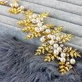 2016 Fashion bright gold leafs rhinestone crystal pearl headwear women elegant vintage headband bridal hair accessories wedding