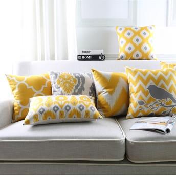 Styl skandynawski abstrakcyjne geometryczne len z nadrukiem poduszka bawełniana okładka żółte linie sofa dekoracyjna poszewka na poduszkę Almofadas tanie i dobre opinie wyszywana R9099 SQUARE DEKORACYJNY Seat SAMOCHÓD Chair stenzhorn Płótno Bawełna PRINTED GEOMETRIC Inne Other moderate