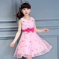 2017 Girl Dress Korean Style Summer Sleeveless Embroidered Bowknot Children S Dress Clothing