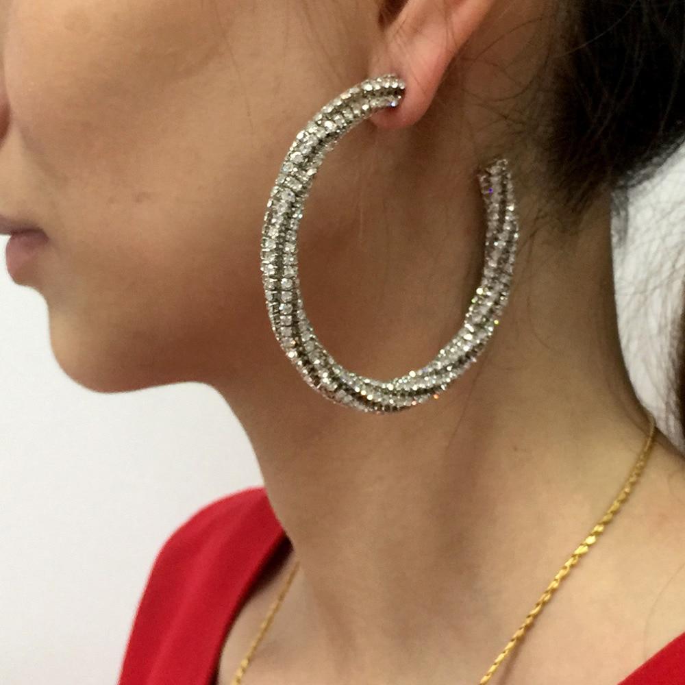 Luxury Fashion Circle Crystal Big Earring 2018 Women Statement Charm Rhinestone Hoop Earrings Jewelry UKMOC