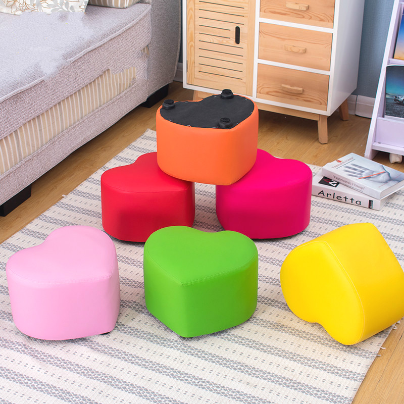 Wood stool children cartoon creative heart-shaped leather stool sofa bench household small bench wooden small stool solid wood sofa stool fabric small bench mushroom stool low fashion creative shoes for shoe stool 28 28 21cm