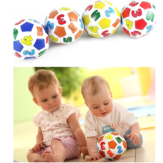 10cm Baby Kids Early Education Football Soccer Rubber Ball with Alphabet Number Mini Stress Ball Toys