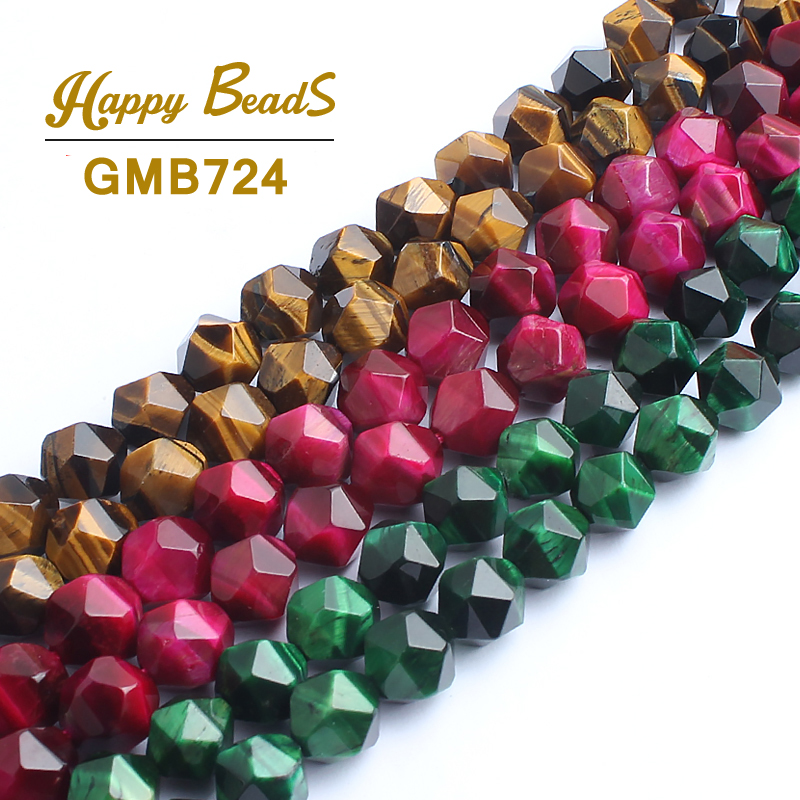 10mm Faceted Yellow/Green/ Fuchsia Tiger Eye Stone Beads Natural Stone Beads For Jewelry Making 38pcs/Strand Wholesale