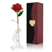 Valentine Day Gift Girl Friend Birthday Gift Romantic Gift 24K Gold Plated Rose Golden Artificial Flower Bedroom Decor