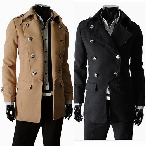 NWT New Men's Slim Fit Double Breasted Woolen Winter Coat Jacket ...