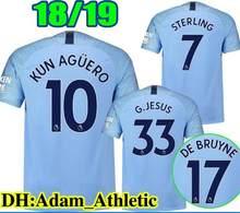 0db704bbd 18 19 Manchester city shirt STERLING G. JESUS KUN AGUERO DE BRUYNE KOMPANY  SANE SILVA MAHREZ 2018 adult football soccer jersey