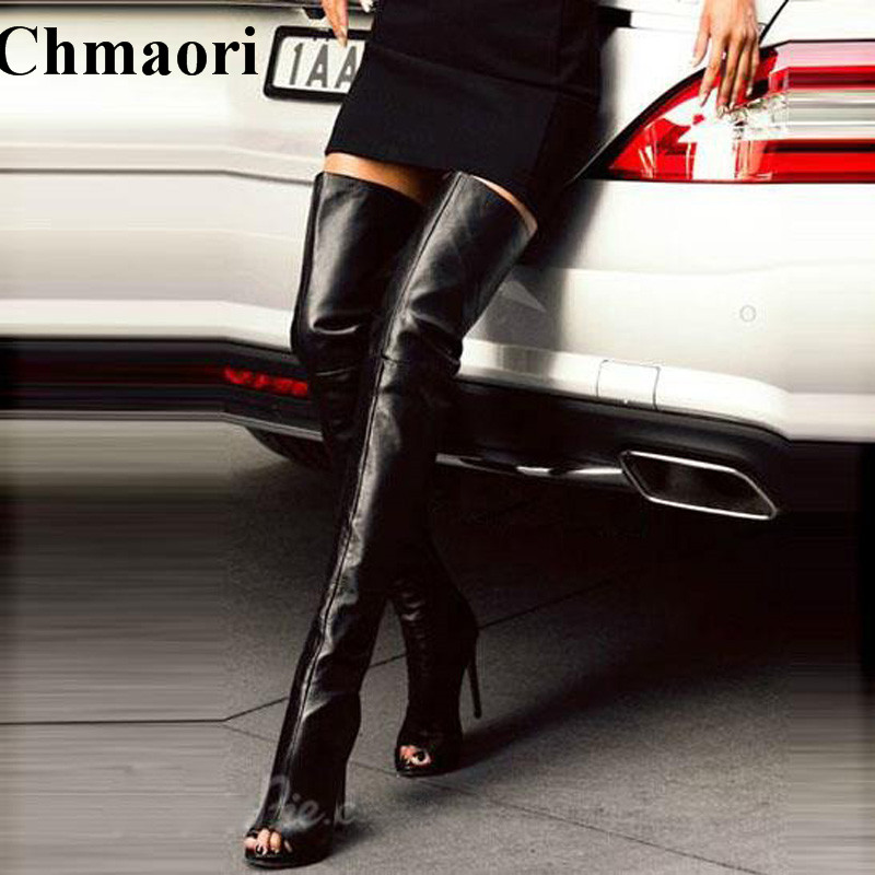Women Newest Arrival Open Toe Black Leather Over Knee High Heel Boots Cut-out Back Zipper-up Thigh Long Boots Dress Boots spaghetti strap chiffon open back dress