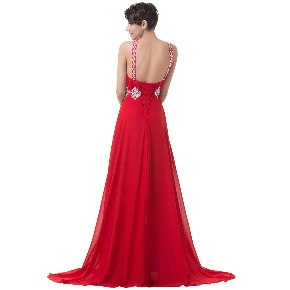 Grace Karin Long Red Evening Dresses 2018 Backless Beaded Chiffon Floor Length Elegant Formal Gowns Prom Sexy Party Dresses 10