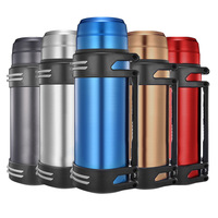 UPORS 1200ml/1600ml/2000ml Thermos with Strap Stainless Steel Thermos Bottle Vacuum Flask Portable Outdoor Travel Insulated Pot