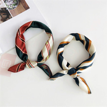 Harajuku Small Square Satin Scarf Stripe Cartoon Foulard Femme Elegant Women Wrap Handkerchief Bandana Accessories