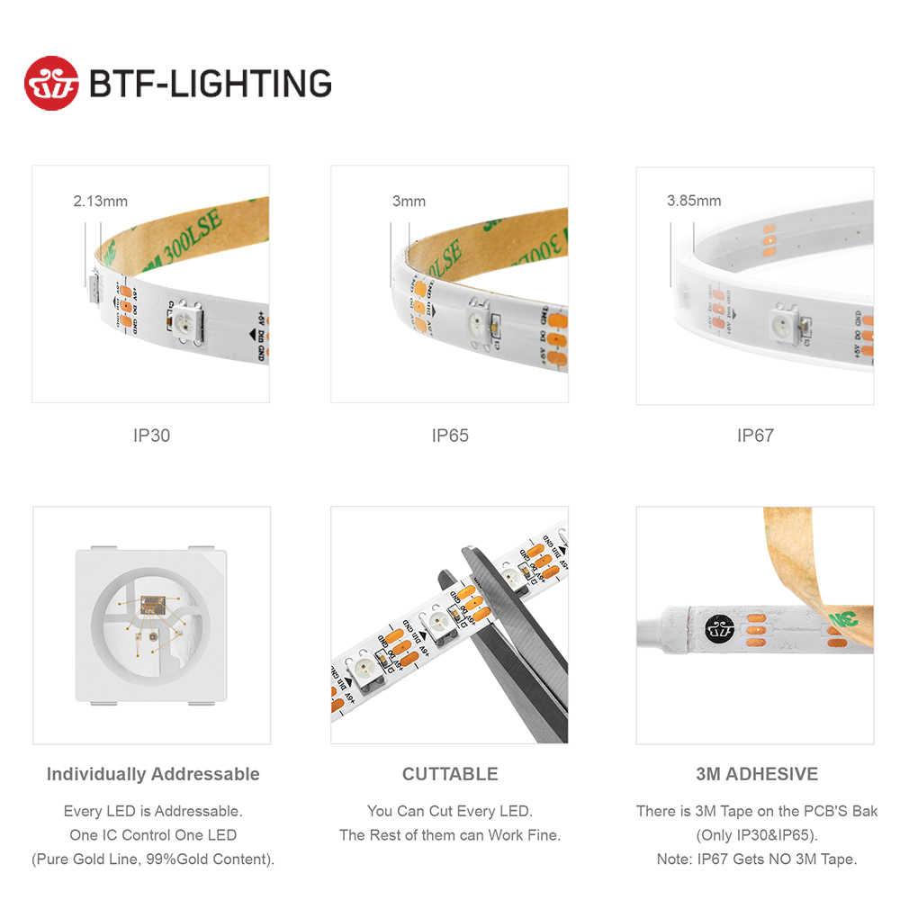 1 M/2 M/4 M/5 M WS2812B LED Strip 30/60/74/ 96/100/144 Piksel/LED/M WS2812 Smart RGB LED Light Strip Hitam/Putih PCB IP30/65/67 DC5V