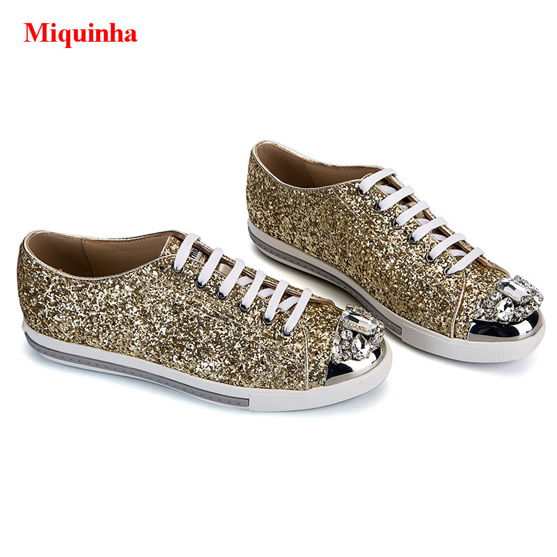 Paillettes Miquinha Luxe Casual Cap Pic Métal Glitter Or Up Pic Bling De as Appartements Derby toe Femmes Dentelle Chaussures Cristal À Marque As TOS0Axw