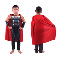 Kids Muscle Thor Hammer Costume Boys Halloween Jumpsuit Cape Child Avengers Muscle Clothes Set Children Cosplay Hero Clothing