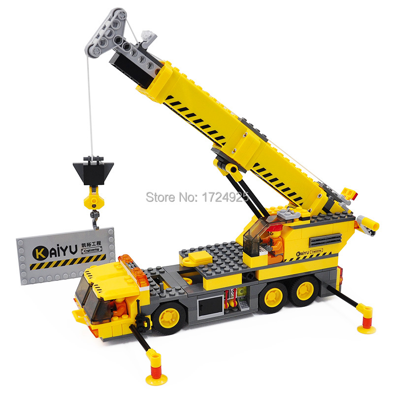 Kazi 8045 Yellow Crane City Construction Building Blocks Sets Model 380pcs Educational Classic Bricks Toys For Children