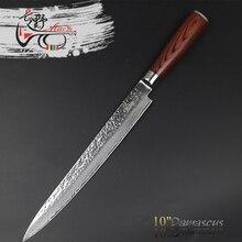Haoye 10 pulgadas de damasco cuchillo rebanador sashimi sushi japón profesional a largo calidad moda de sharp de acero vg10 cuchillo de cocina chef