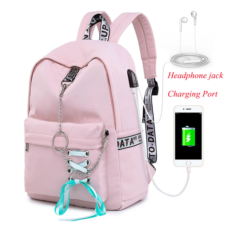 Backpack Women's Student School Bag With Headphone Jack Backpacks With Charging Port Bag Female Multifunctional Travel Backpack