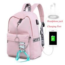 Mochila feminina estudante saco de escola com fone de ouvido jack mochilas com porto de carregamento saco feminino multifuncional mochila de viagem