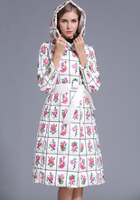 New   Rose Flower Embroidery Women Duck Down Fashion Winter Maxi Hooded Down Jacket