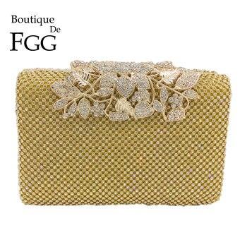 Boutique De FGG Flower Appliques Women Gold Crystal Purse Evening Bags Diamond Party Wedding Box Clutch Handbag Bolsa de Fiesta box clutch purse