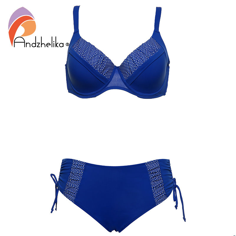 Andzhelika 2018 New Bikinis Women Solid Dot Patchwork Sexy Plus Size Swimwear Soft cups Bikini Set Bathing Suit Biquini AK17788 minimalism le 2018 lace patchwork bikinis sexy plus size push up swimwear women bathing suit solid bikini set swimsuit biquini