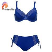 Andzhelika 2017 New Bikinis Women Solid Dot Patchwork Sexy Plus Size Swimwear Soft Cups Bikini