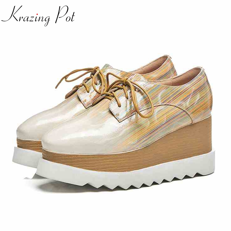 Krazing Pot high quality microfiber patterns wedges high heels women pumps oriental lace up fashion platform oxford shoes L8fk krazing pot recommend autumn cow leather wedges thick bottom high heels straw sole pumps lace up mixed color oxford shoes l92