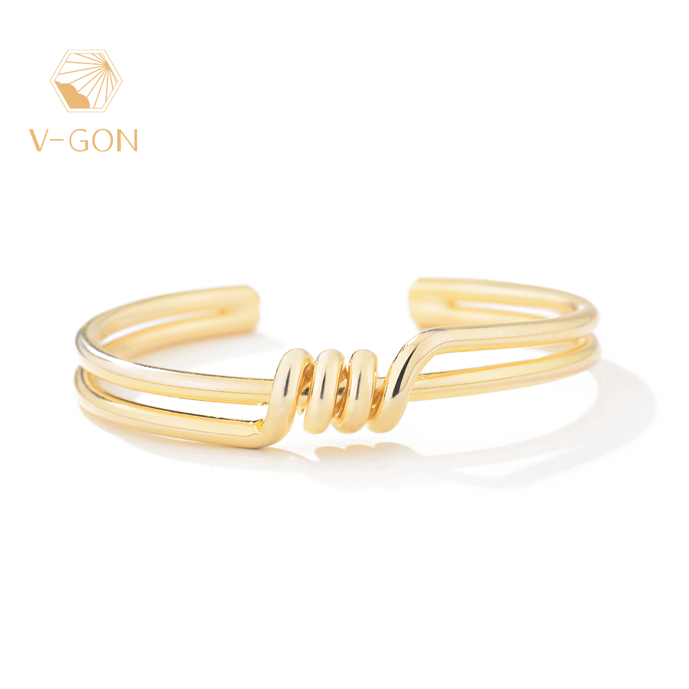 V-GON New Fashion Kink Bangles Adjustable Simple Gold Bracelets For Woman Jewelry Party Gifts V-SL0004