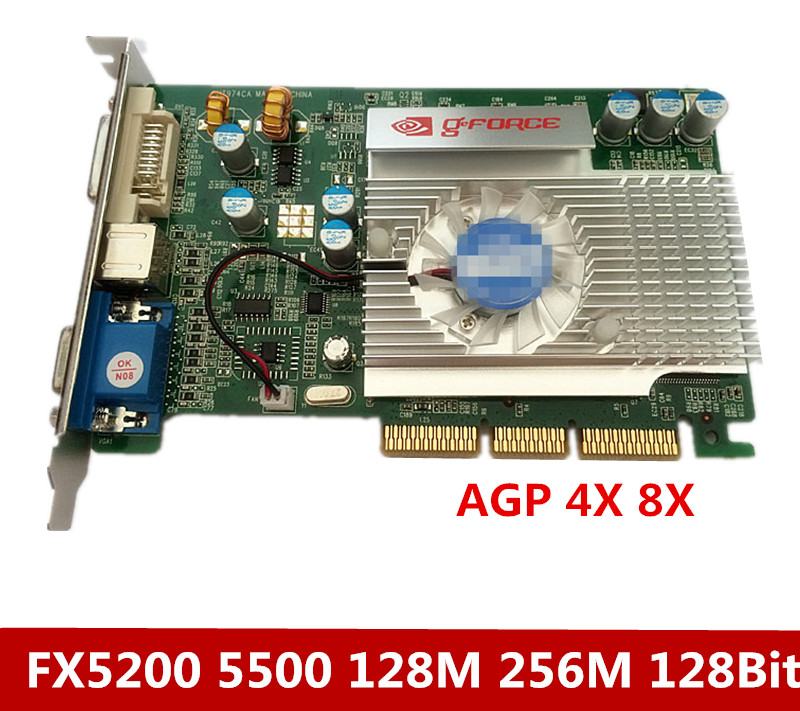 AGP Video card FX5200 128M 128Bit supports 8x 4x interface motherboard. new direct from factory free shipping new geforce fx5500 256mb ddr agp 4x 8x vga dvi video card