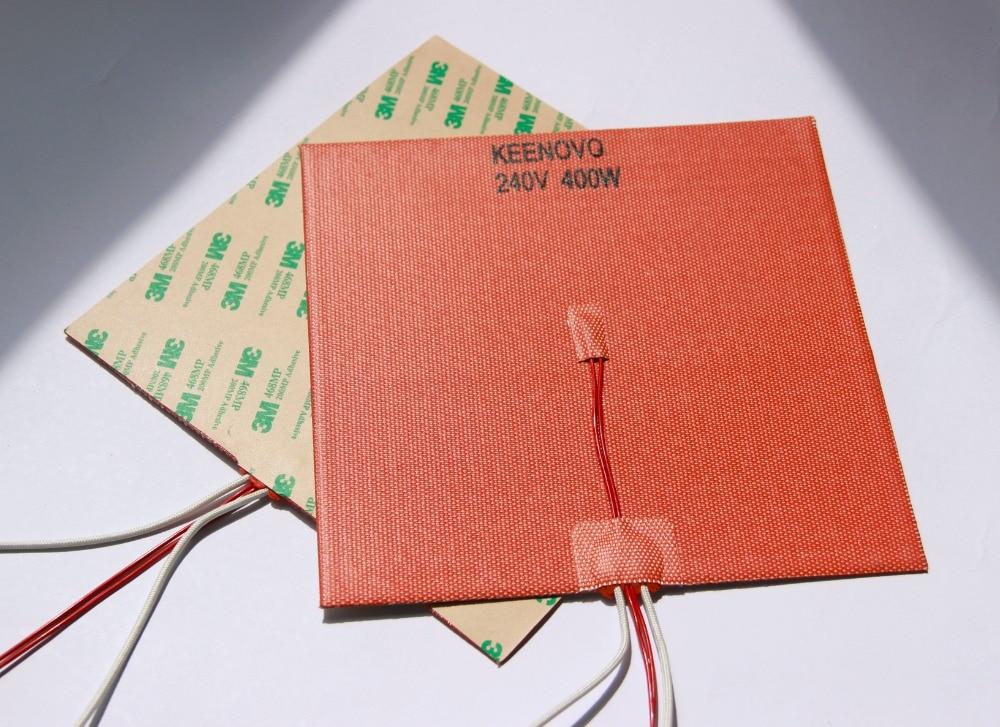 200mm X 200mm,400W@240V, W/ NTC 100K Thermistor,Keenovo Silicone Heater 3D Printer Heater,Heatbed,First Grade Quality Guaranteed