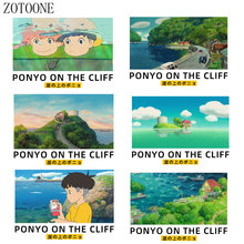 ZOTOONE Cute cartoon boy landscape patch childrens clothing hot press sticker girl DIY T-shirt thermal transfer vinyl