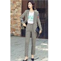 Для женщин костюм новый Для женщин плед вязаный свитер Для женщин моды случайные костюм на одной пуговице 2 комплекта (куртка + Штаны)