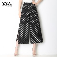Womens Summer Casual Black Dot Printed Wide Leg Pants High Waist Loose Fit Lace Crochet OL Trousers Plus Size 5XL Pantalon Mujer