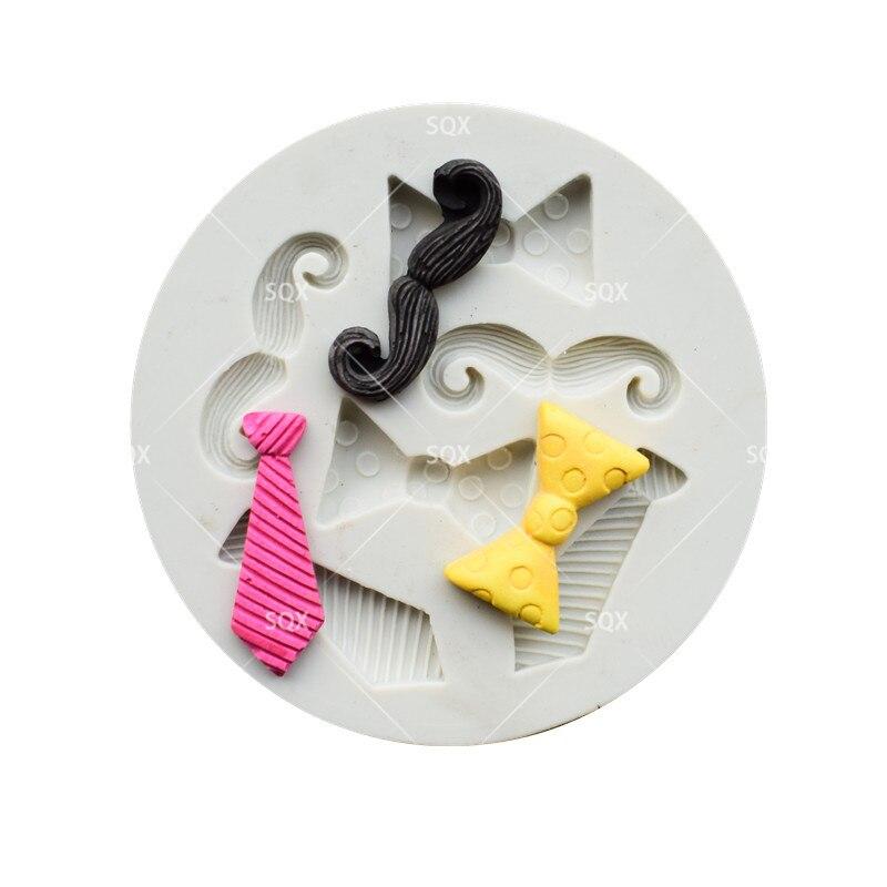 3D Mini Tie Bow Beard Accesorios Candy Chocolate Clay Molde de - Cocina, comedor y bar