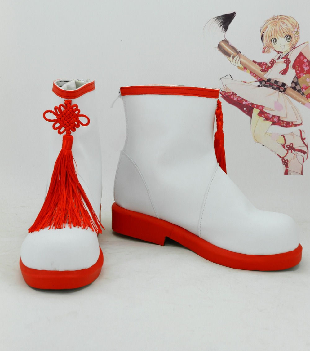 CardCaptor Sakura's Shoes Card Captor Cosplay Boots Red&White Color Halloween Carnival Women Coplay Shoes