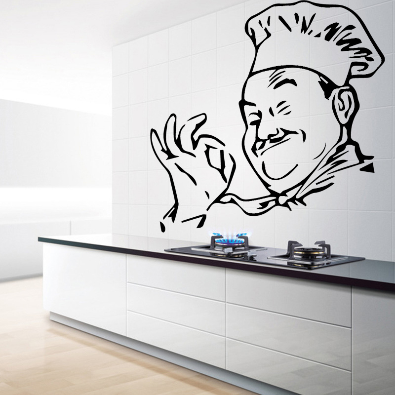 Creative Chef Figure Wall Sticker for Cookhouse Decoration Accessories Wall Design Stickers Self adhesive Vinyl Home Decor LW50 in Wall Stickers from Home Garden