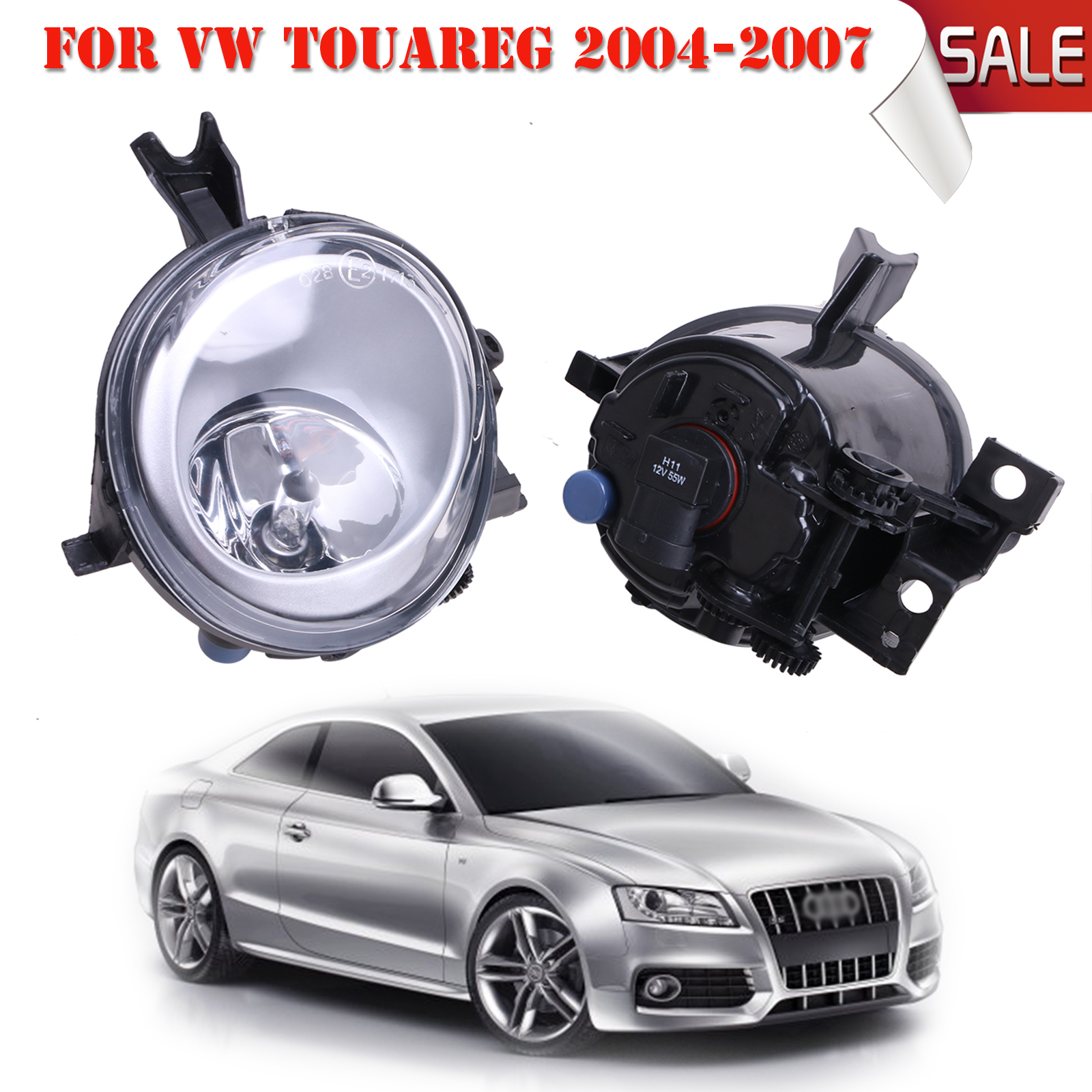 Front Fog Light Lamps with Bulb For VW Touareg TDI V6 V8 Base Sport 2004-2007 Part Number 7L6941699 7L6941700 #P320 free shipping for vw polo 2005 2006 2007 2008 new front left side halogen fog light fog light with bulb