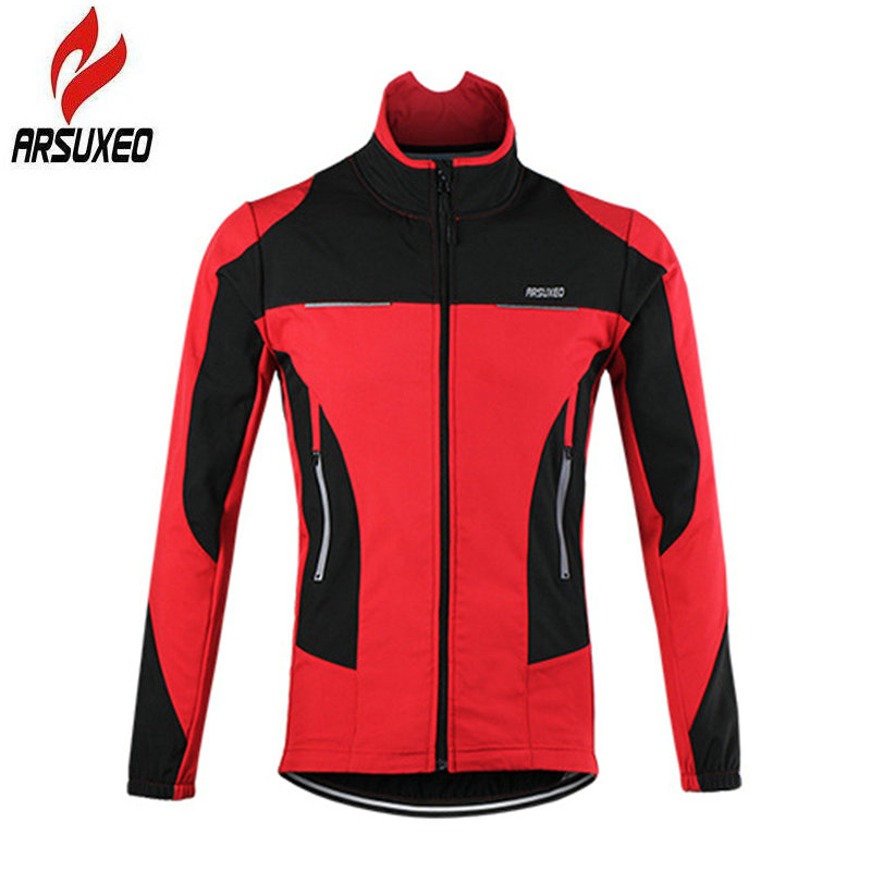 ARSUXEO Cycling Jacket Thermal Windproof Outdoor Bicycle Reflective Clothing Winter Waterproof Road Bike Men Sports MTB Coat arsuxeo outdoor sports cycling jerseys mtb bike bicycle running jacket men waterproof windproof long sleeve wind coat clothing