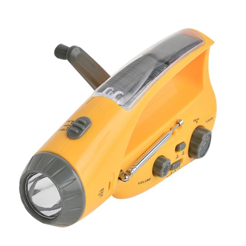 Solar Power Dynamo Hand Crank LED Flashlight Torch Emergency Outdoor Camping Light Tent Lamp + FM/ AM Radio + Charger for Phone купить