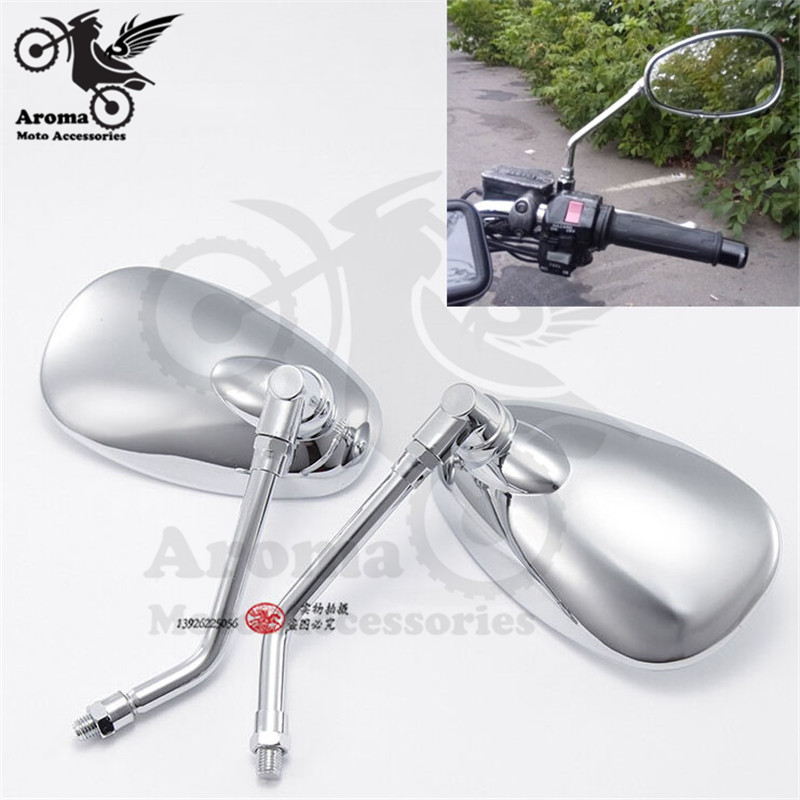 sliver chrome motorbike side mirrors for Harley yamaha vespa scooter accessorie side mirror motorcycle rearview mirror moto mirror black handle bar mirror rearview mirror moto side mirrors for bmw k1200r k1200r sport k1200s r1200r r1200rt s1000rr f800r