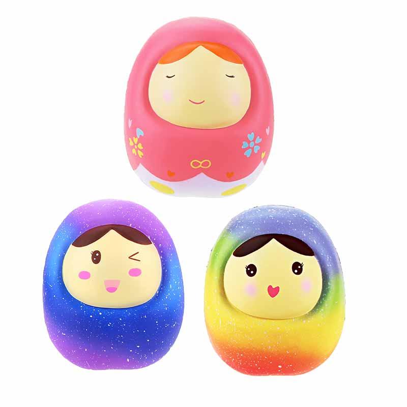 9pcs/lot Jumbo Kawaii Squishy Slow Rising Cute Russian Dolls Galaxy Rainbow Emoji Stress relief Toys Vlampo Licensed Original