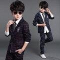 V-TREE 6-14Y Adolescente conjunto de roupas menino terno xadrez para os meninos da escola roupas uniforme escolar das crianças roupa dos miúdos dos meninos ternos