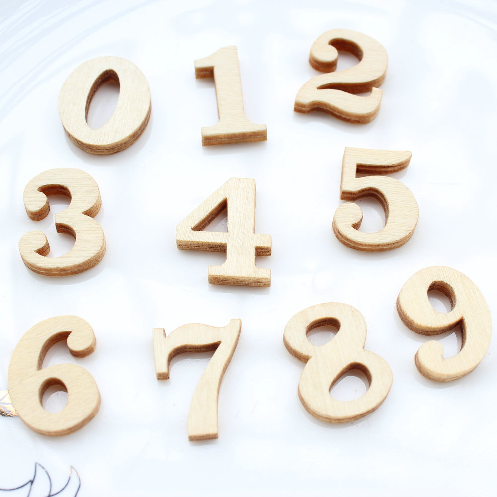 100pcs Lots Of Natural Wooden Destash Pieces Numbers 0-9 Wooden Digits Numbers Wood Craft Supplies 25mm*4mm Thick Beads