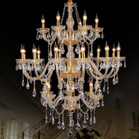 Morden 3 Layer 24 Arms Large Gold Crystal Chandelier Stair Long Crystal Chandelier Lighting Restaurant Hotel