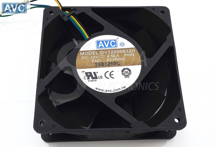 Original AVC DV12038B12H 12038 120mm 12cm 12V 4.5A high speed server inverter axial cooling fans cooler original delta afc1212de 12038 12cm 120mm dc 12v 1 6a pwm ball fan thermostat inverter server cooling fan