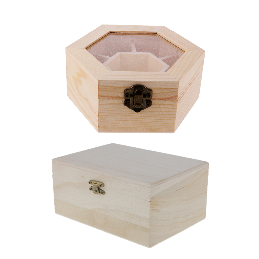 2pcs Plain Unfinished Box Hexagon Rectangle Shape Unpainted Wooden Jewelry Box DIY Storage Chest Treasure Toy Case-in Jewelry Packaging u0026 Display from ...  sc 1 st  AliExpress.com & 2pcs Plain Unfinished Box Hexagon Rectangle Shape Unpainted Wooden ...